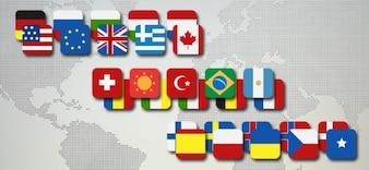 Bandeira países pacote de ícones psd