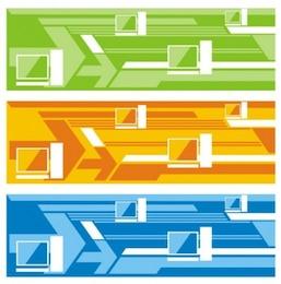 Bandeiras abstratas futuristas com formas