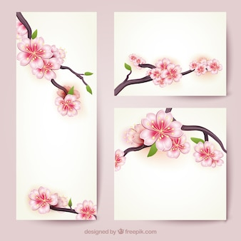 Bandeiras com flores de cerejeira