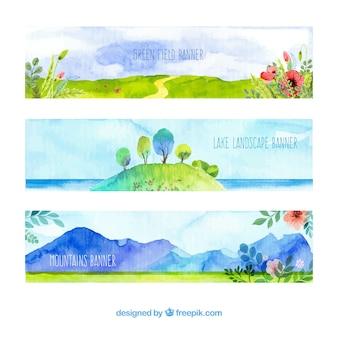 Bandeiras da paisagem da aguarela