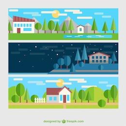Bandeiras da paisagem rural