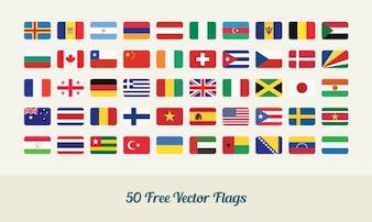 Bandeiras do mundo do vetor no estilo liso