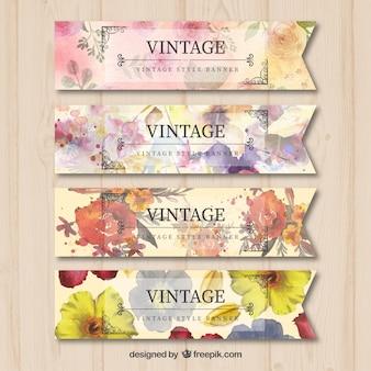 Bandeiras do vintage com flores da aguarela