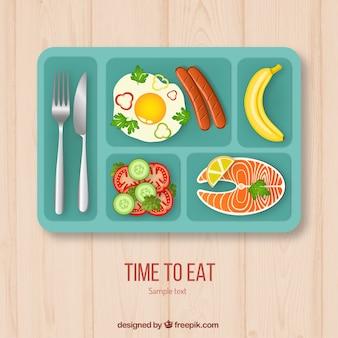 Bandeja de comida do almoço