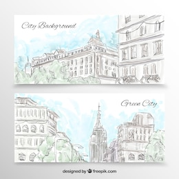 Banners cidade em grande estilo desenhada à mão