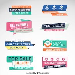 Banners colorido da venda