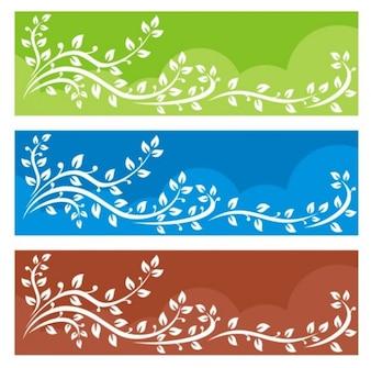 Banners com folhas brancas e ramos de