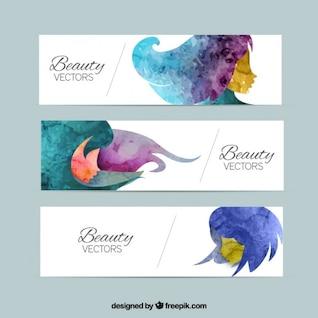 Banners de beleza em estilo aquarela