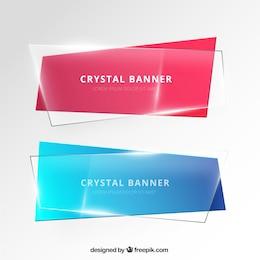 Banners em estilo de cristal