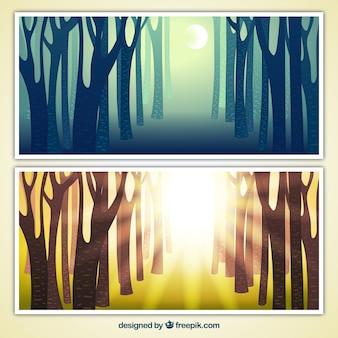 Banners florestais Dia e noite