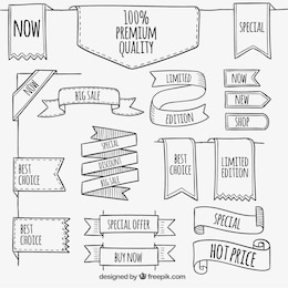 Banners Premium no estilo esboçado