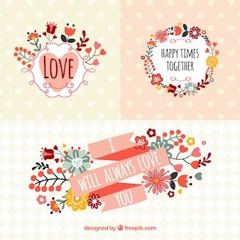 Banners românticas em estilo primavera