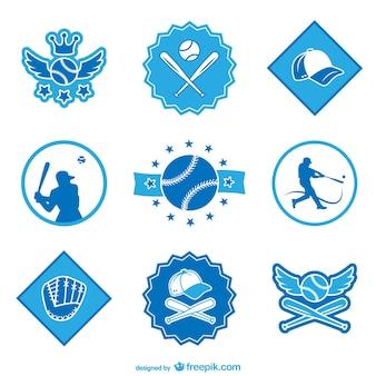 Emblemas de beisebol e adesivos conjunto de vetores