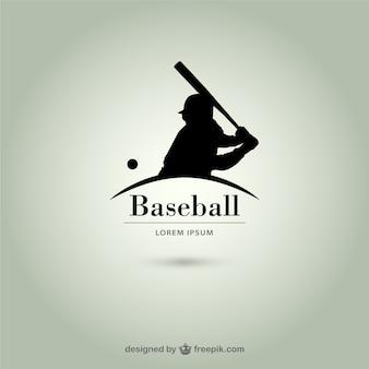 Logotipo silhueta jogador de beisebol