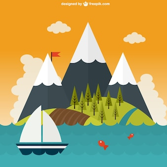 Bela paisagem mountaints no mar