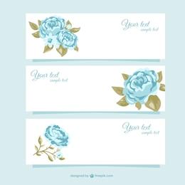 Belos banners sazonais com rosas