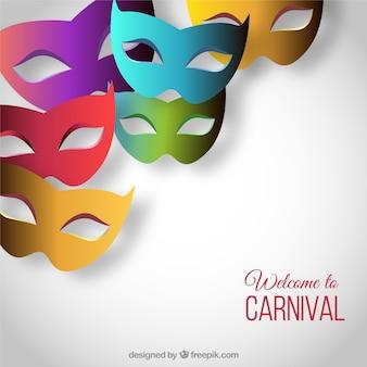Bem-vindo ao carnaval com máscaras coloridas