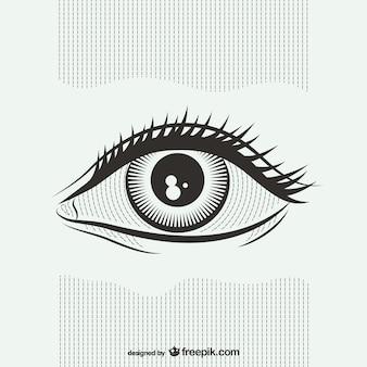 Ilustração preto e branco do olho