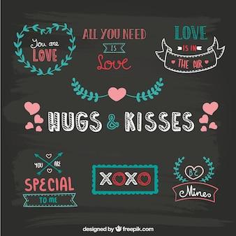 Blackboard desenhada ornamentos Namorados