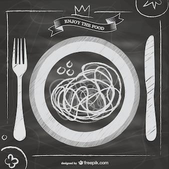 Lousa vetor menu de comida italiana