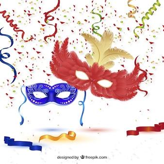 Azul e máscaras de carnaval vermelho