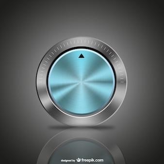 Botão azul do metal