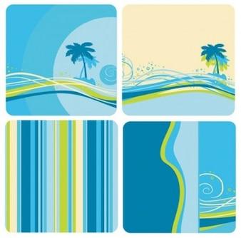 Bluegreen cor de fundo com árvore de coco e linhas