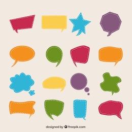 Bolhas coloridas do discurso em estilo cut-out