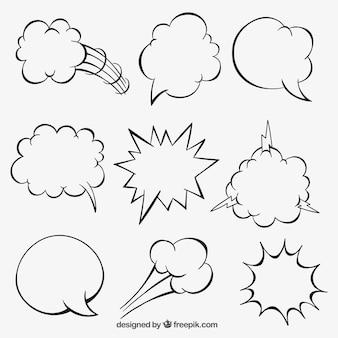 Bolhas do discurso dos desenhos animados esboçado