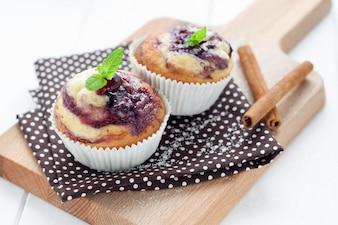 Bolinhos deliciosos com blueberries