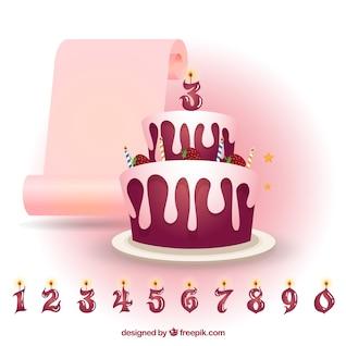 Bolo de aniversário de morango com números velas
