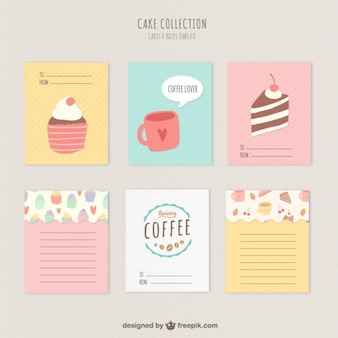Bolos bonitos e cartões de café
