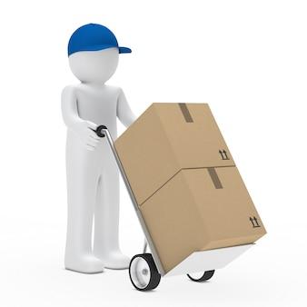 Boneca de pano carregando caixas