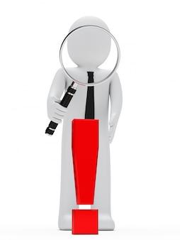 Boneca de pano com uma lupa gigante e um símbolo de exclamação vermelho