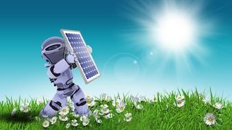 Boneca parando o sol com painel solar