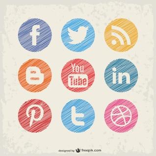 Botões de mídia social vetor definido