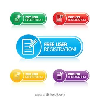 Botões de registro do usuário