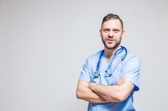 Branco ajuda clínico médico alegre confiança