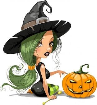 bruxa bonita com halloween ilustração vetorial