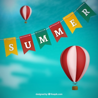 Bunting verão e balões de ar quente