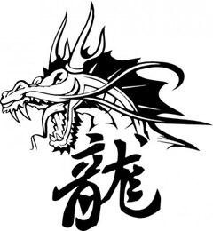 Cabeça de dragão chinês e símbolos
