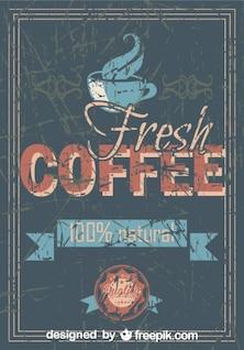 Café do vintage grunge cartaz 100% natural