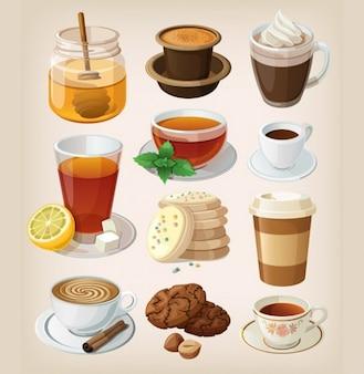 Café e chá ruptura com guloseimas doces