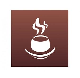 Café fumegante xícara logotipo gráfico vetorial