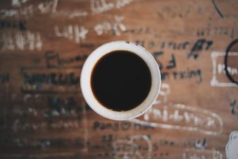 Cafe placa preto feijão relaxamento