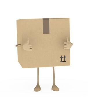 Caixa 3d mostrando um gesto positivo
