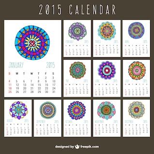 Calendário 2015 com ornamentos abstratos