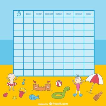 Calendário escolar de crianças brincando na praia ilustração