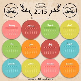 Calendário Hipster Colorful