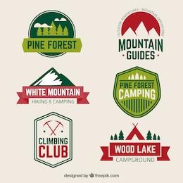 Caminhadas e camping emblemas